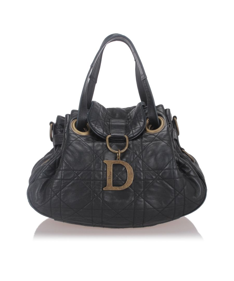 Image for Dior Cannage Leather Shoulder Bag Black