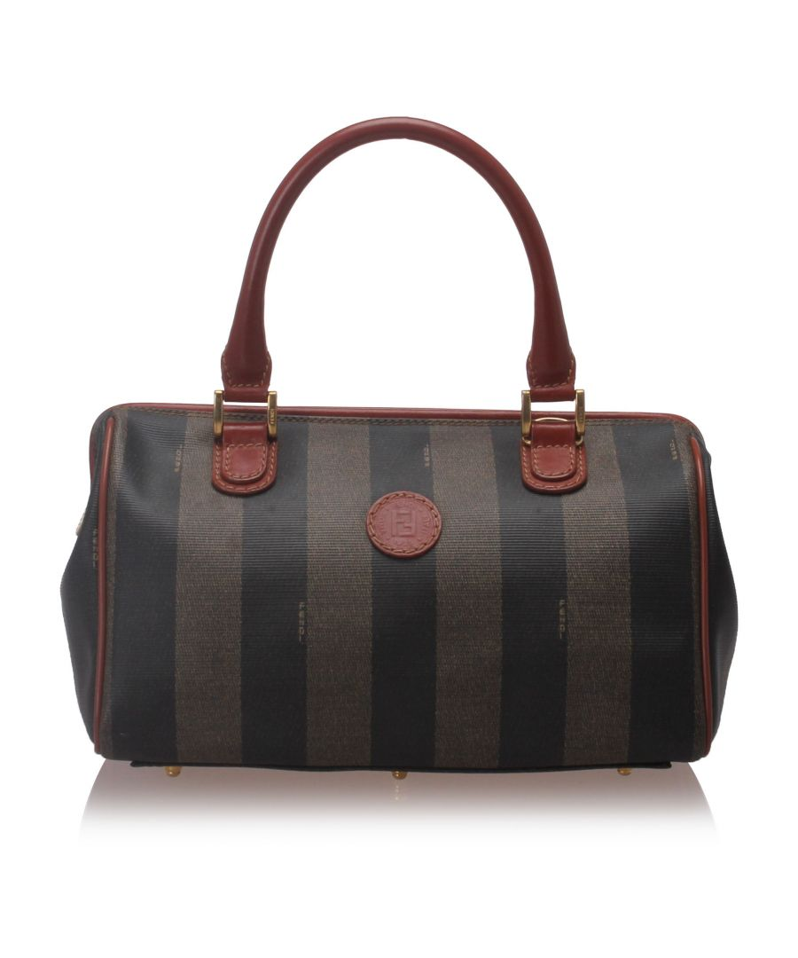 Image for Fendi Pequin Boston Bag Brown