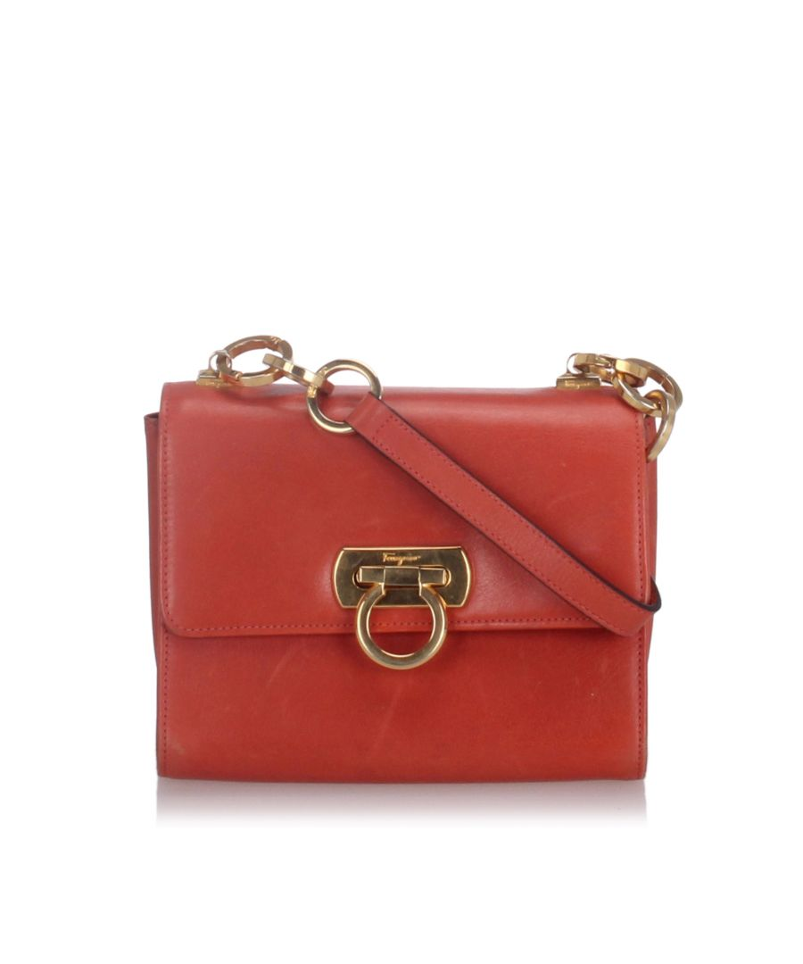 Image for Ferragamo Leather Gancini Crossbody Bag Red