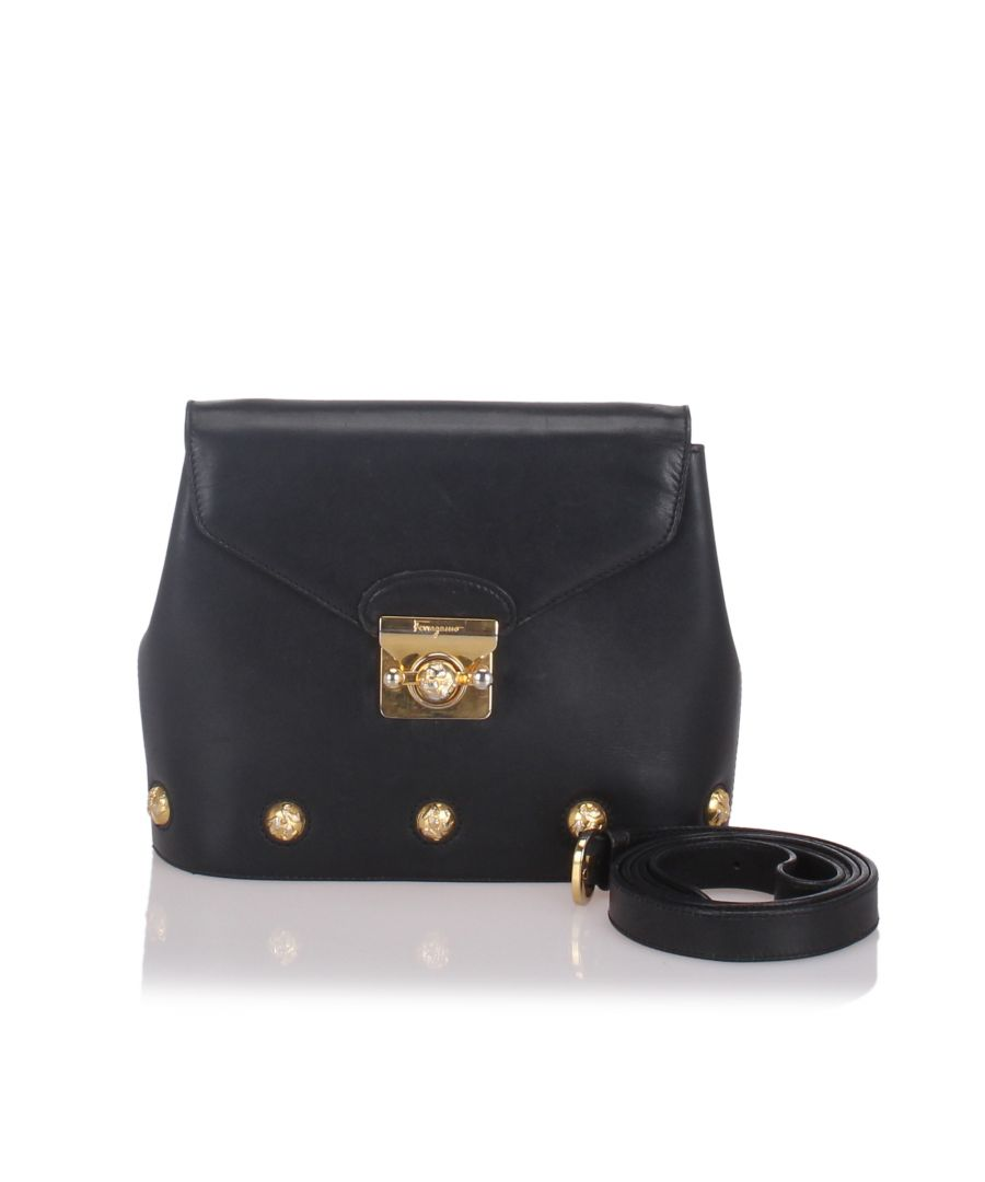 Image for Ferragamo Leather Crossbody Bag Black