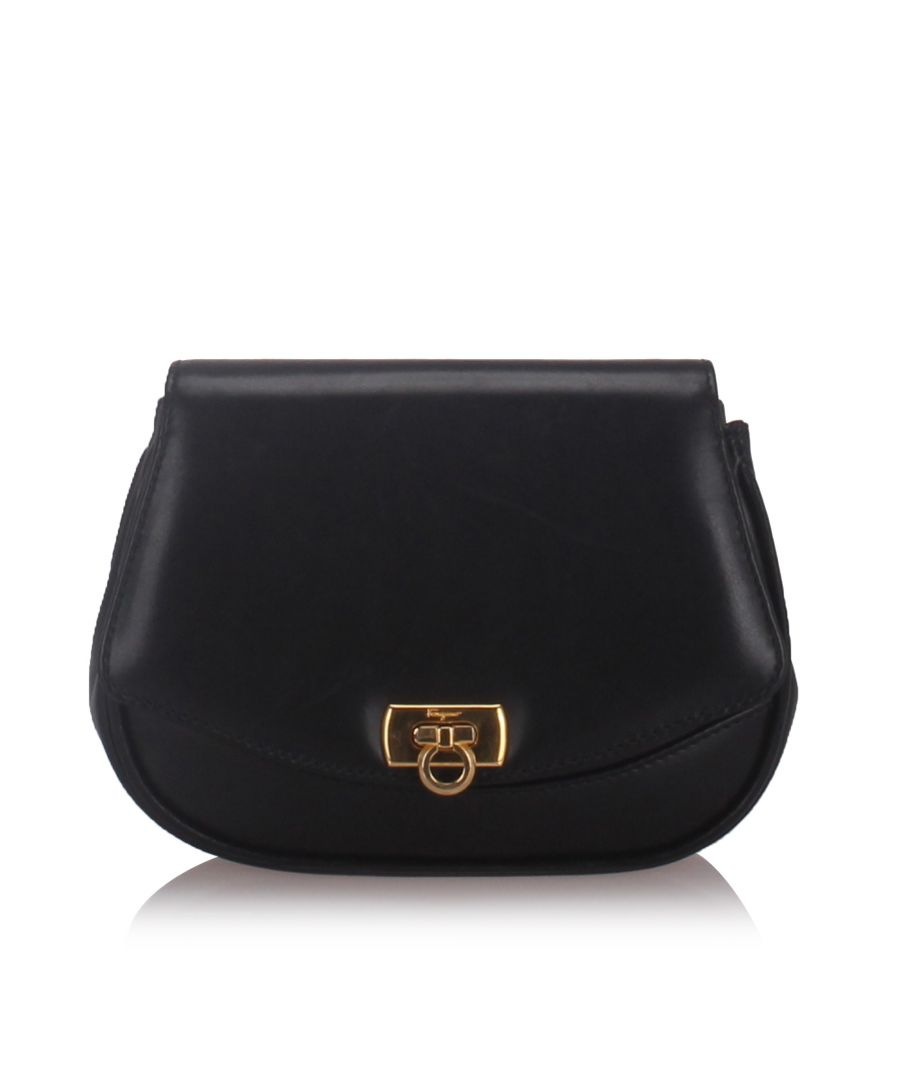Image for Ferragamo Leather Gancini Crossbody Bag Black