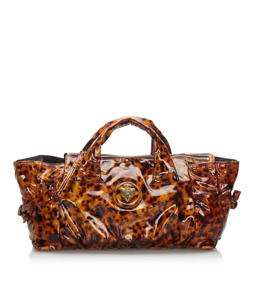 Image for Gucci Patent Leather Hysteria Handbag Brown