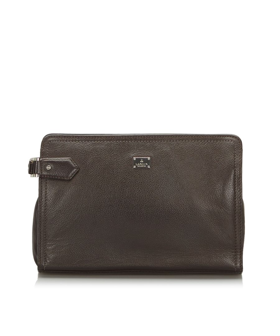Image for Vintage Lanvin Leather Clutch Bag Brown