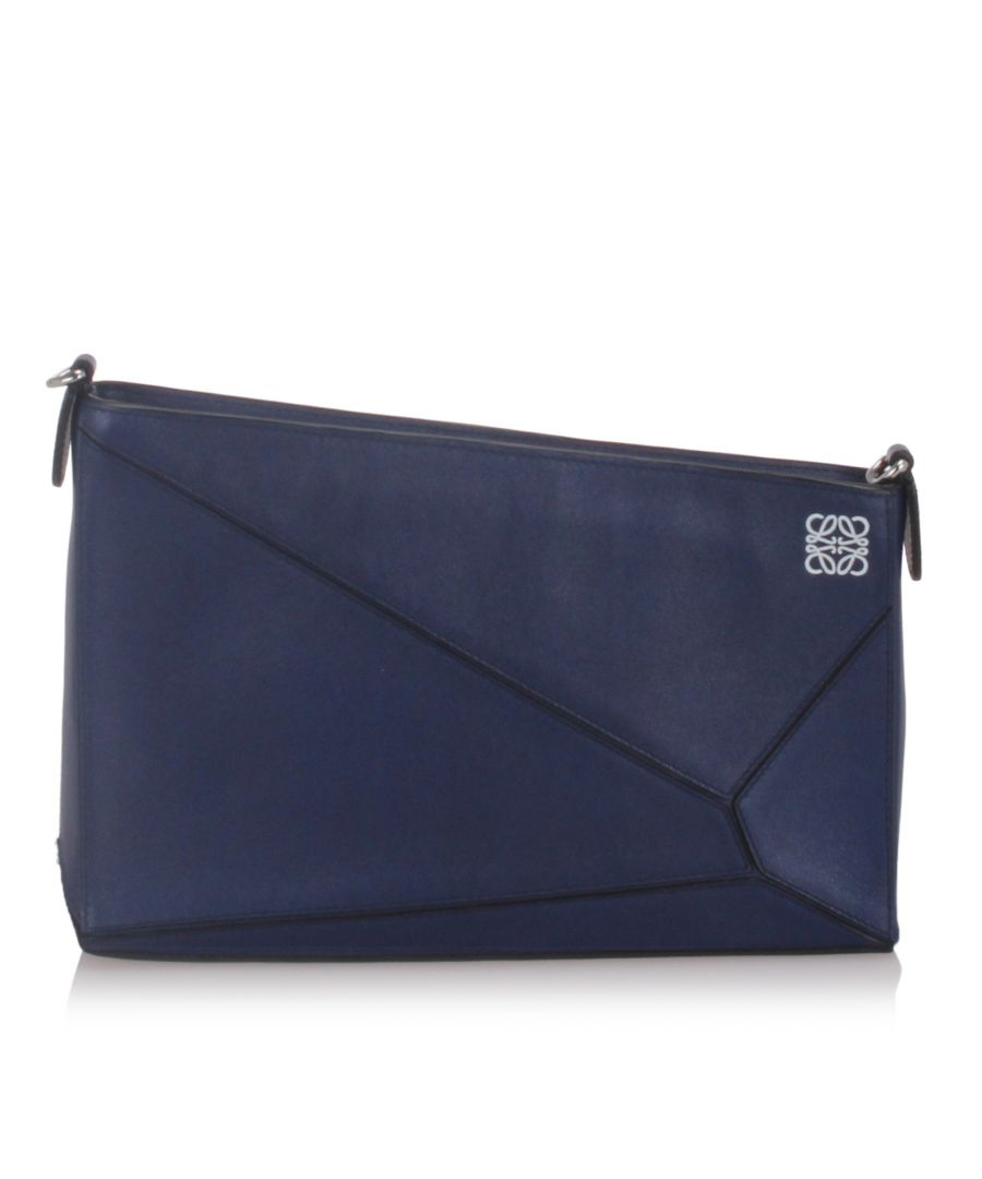 Image for Loewe Leather Puzzle Shoulder Bag Blue