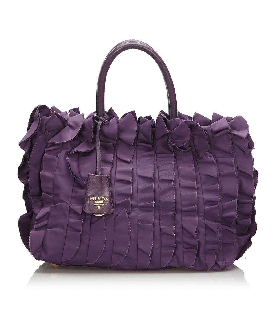 Image for Vintage Prada Gathered Nylon Handbag Purple