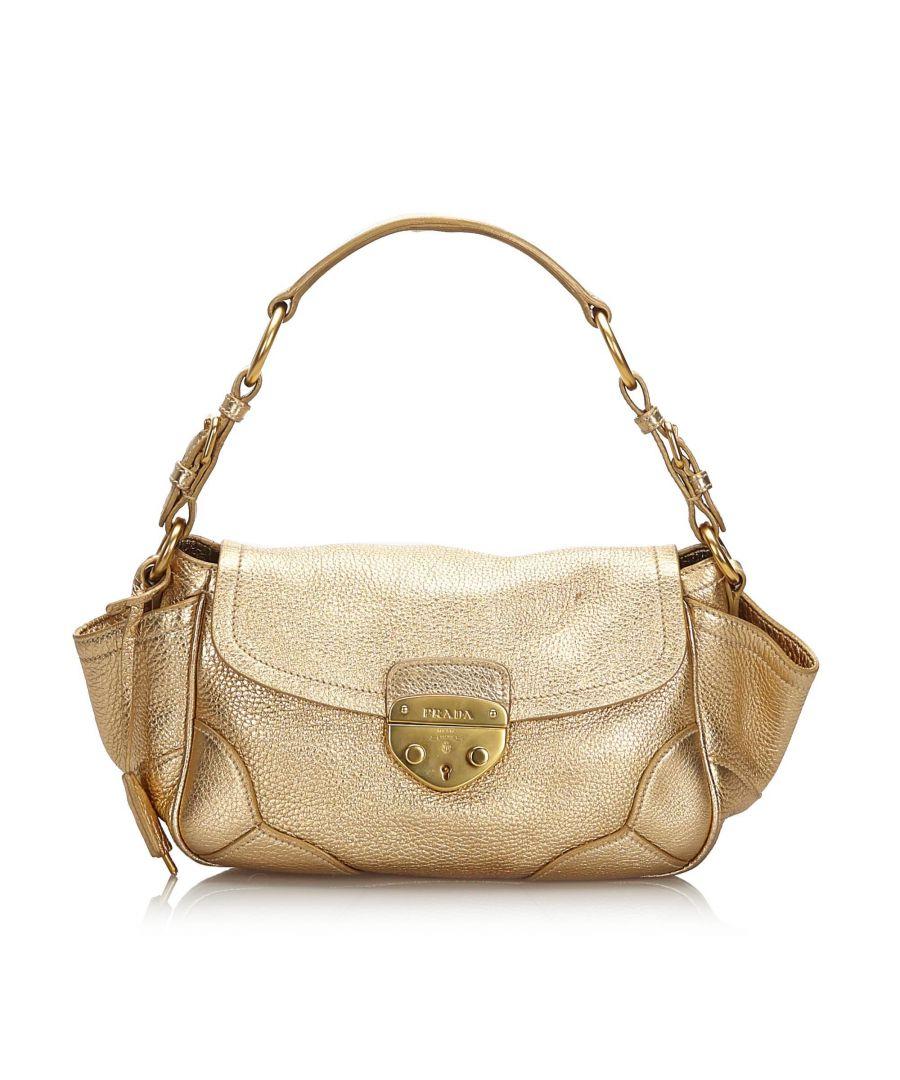 Image for Vintage Prada Vitello Daino Shoulder Bag Gold