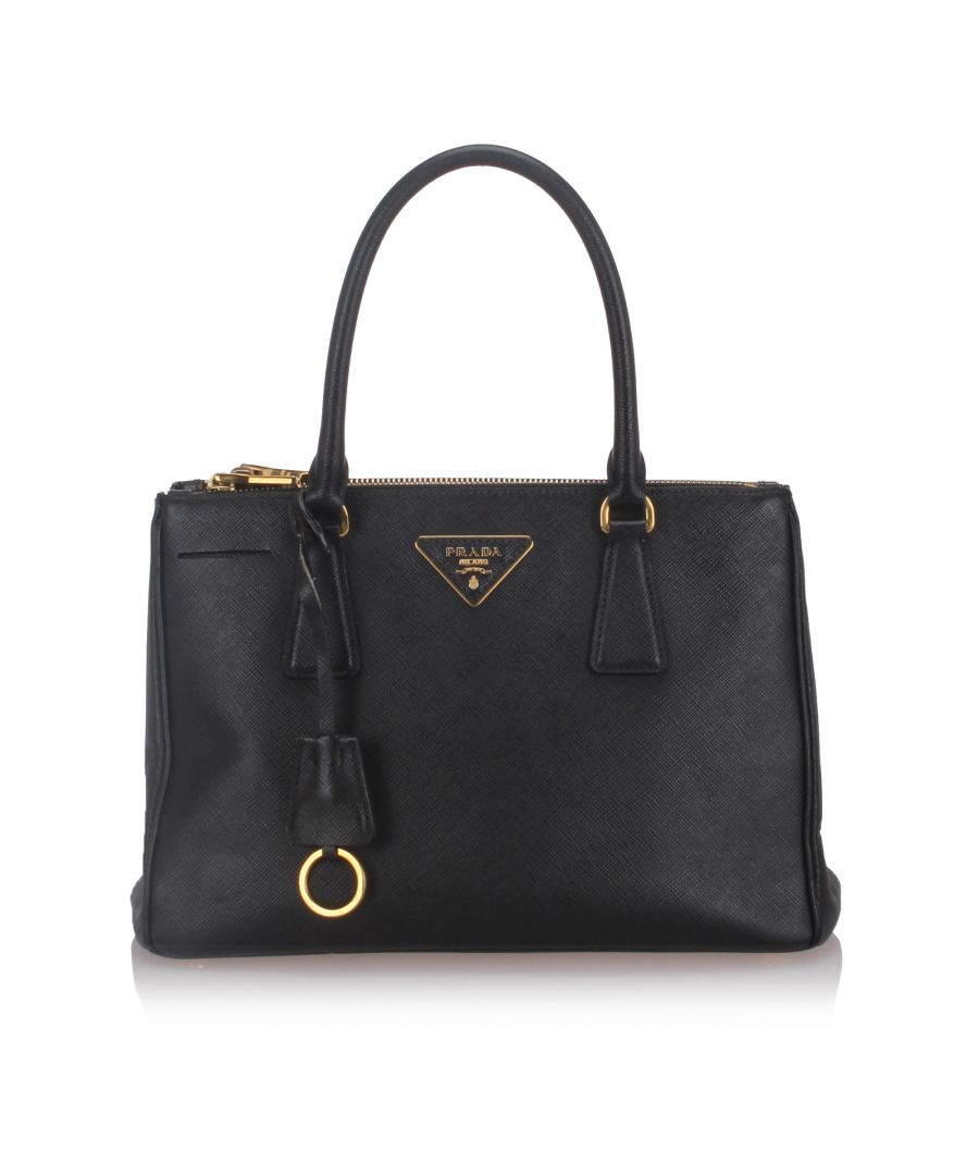 Image for Prada Leather Saffiano Galleria Satchel Black