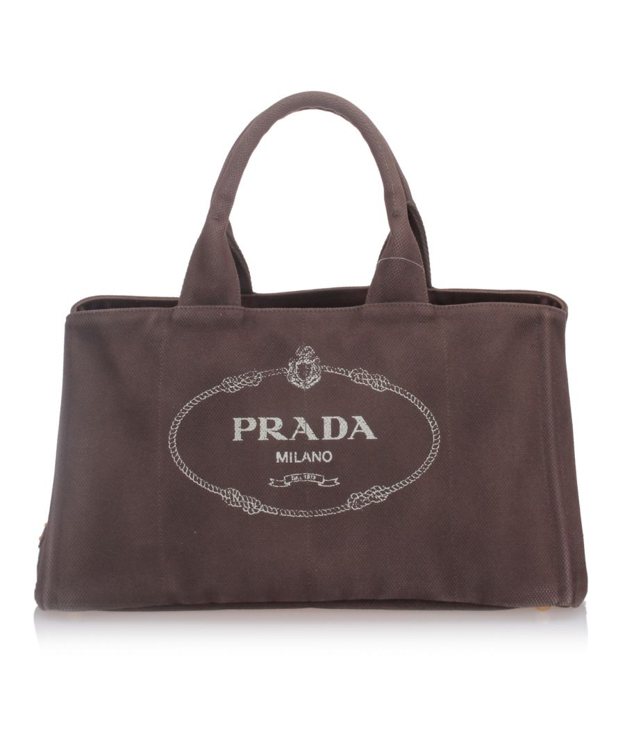 Image for Prada Canapa Canvas Handbag Brown