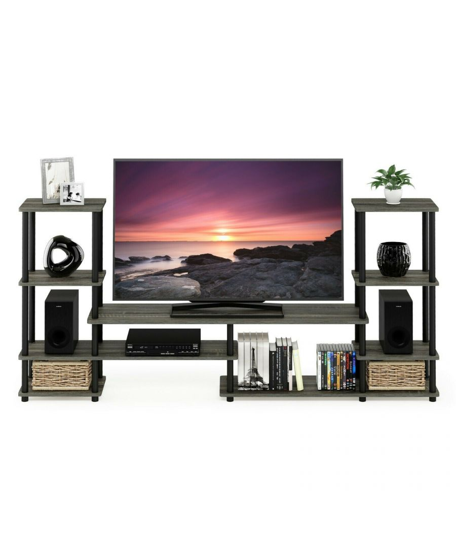 Image for Furinno Turn-N-Tube Grand Entertainment Center - French Oak Grey/Black