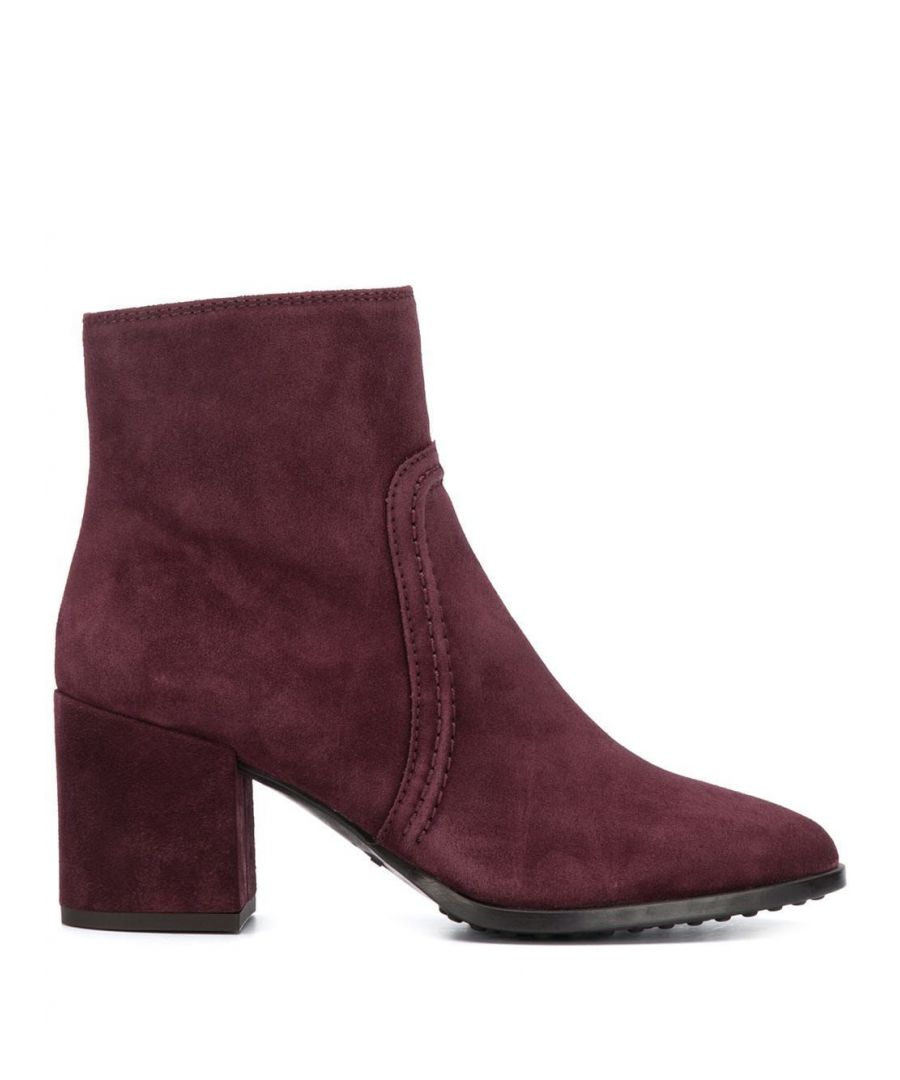 Image for TOD'S WOMEN'S XXW83B0BO70BYEL822 BURGUNDY SUEDE ANKLE BOOTS