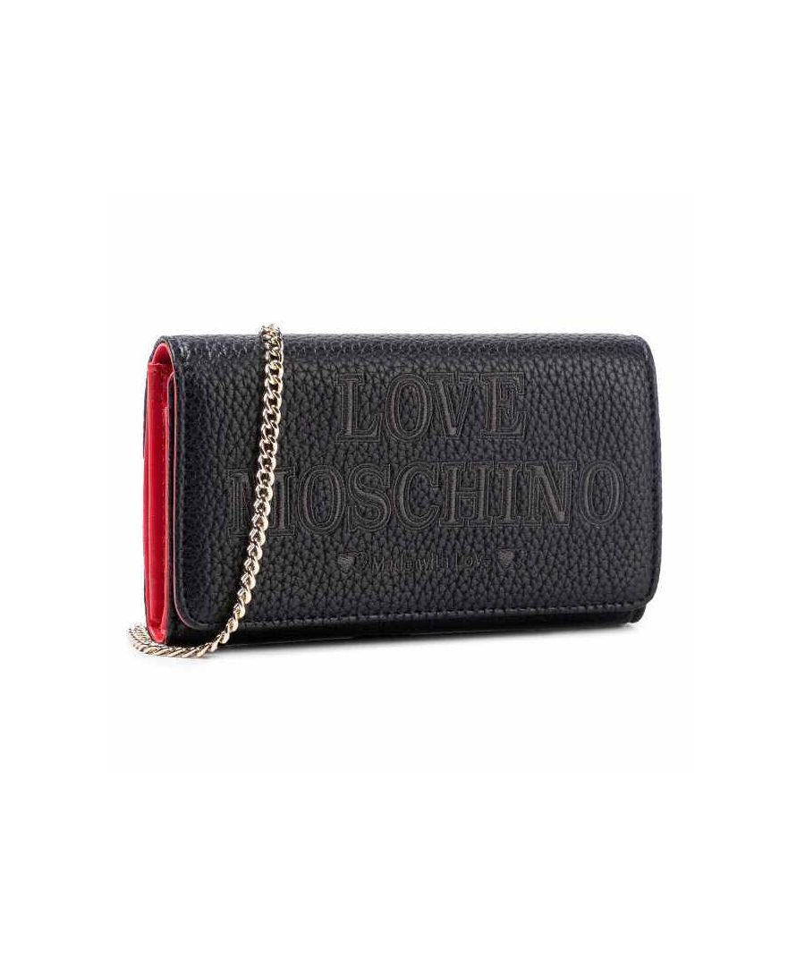 Image for Love Moschino Imprinted Text with Flap Wallet in Black
