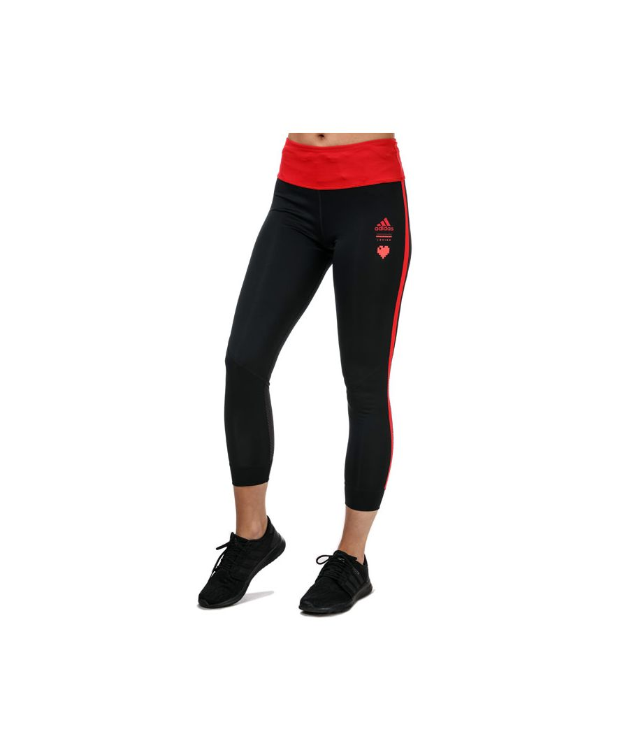 Image for Women's adidas Own The Run Valentine 7/8 Tights Black Red 4-6in Black Red