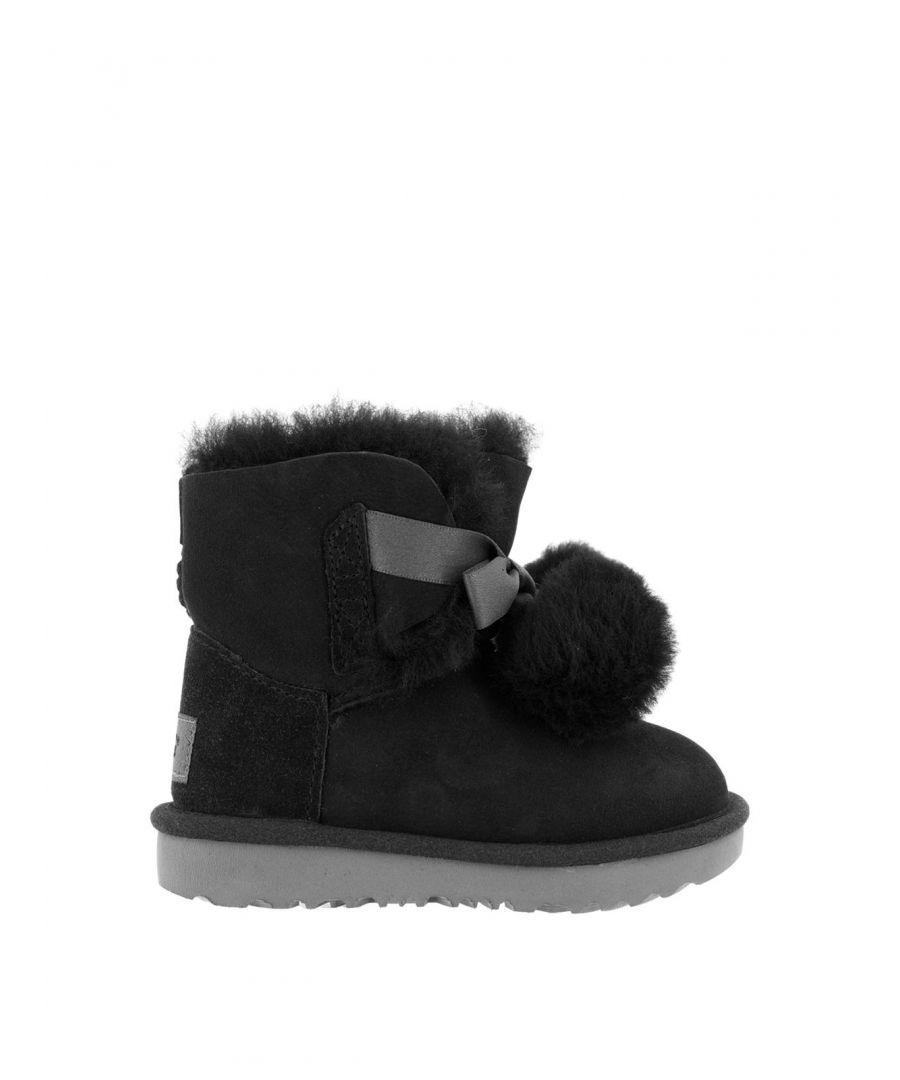 Image for UGG GIRLS 1017403KBLACK BLACK LEATHER ANKLE BOOTS