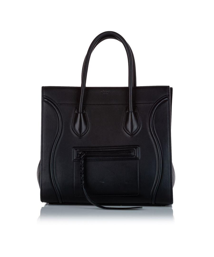 Image for Vintage Celine Phantom Luggage Leather Tote Bag Black