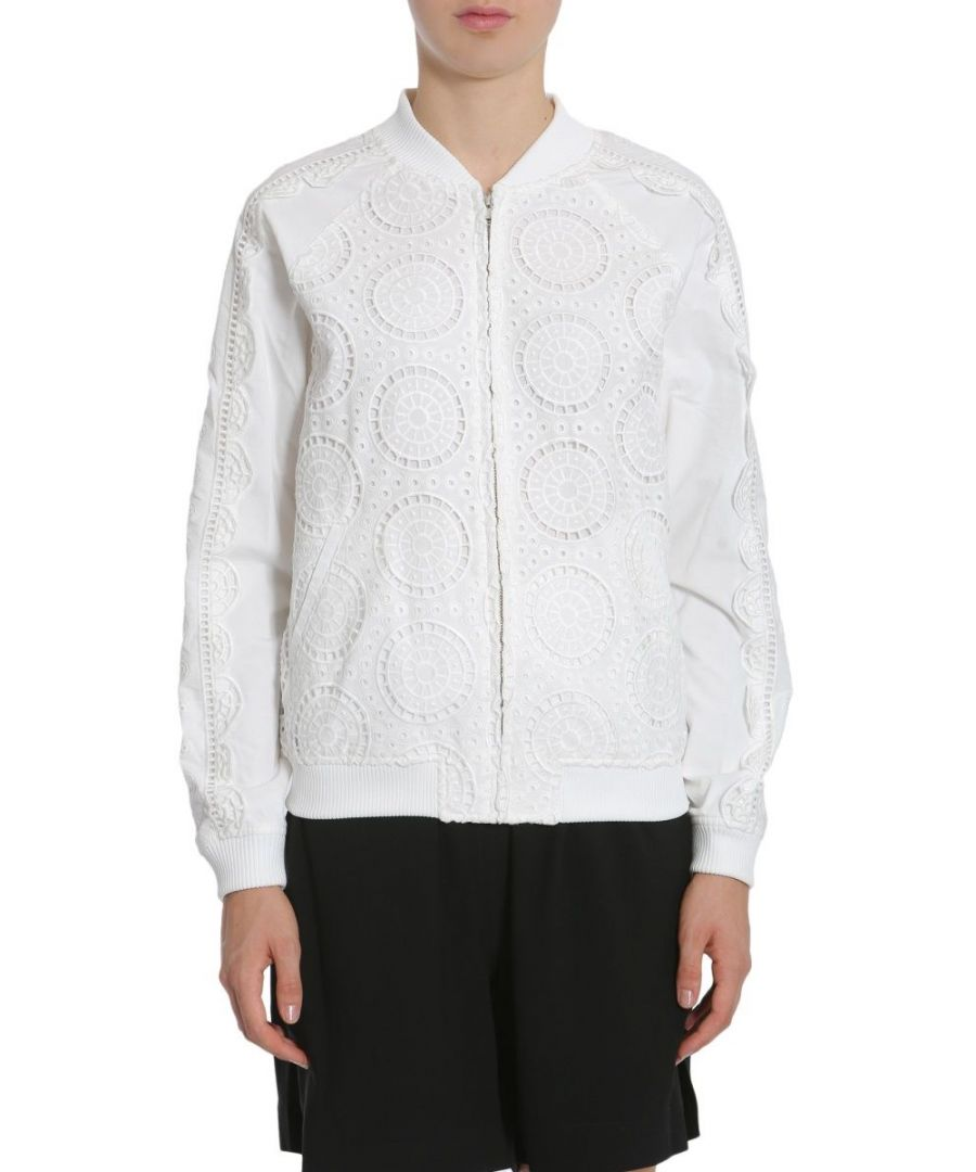 Image for OPENING CEREMONY WOMEN'S S27ABB110161000 WHITE COTTON OUTERWEAR JACKET
