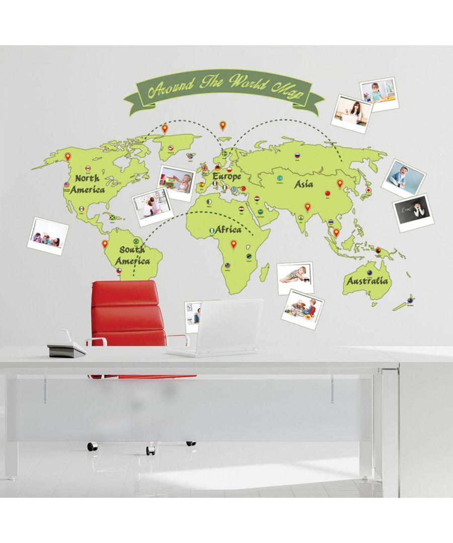 Image for Around the World Map Wall Stickers Kids Room, nursery, children's room, boy, girl 165 cm x 115 cm