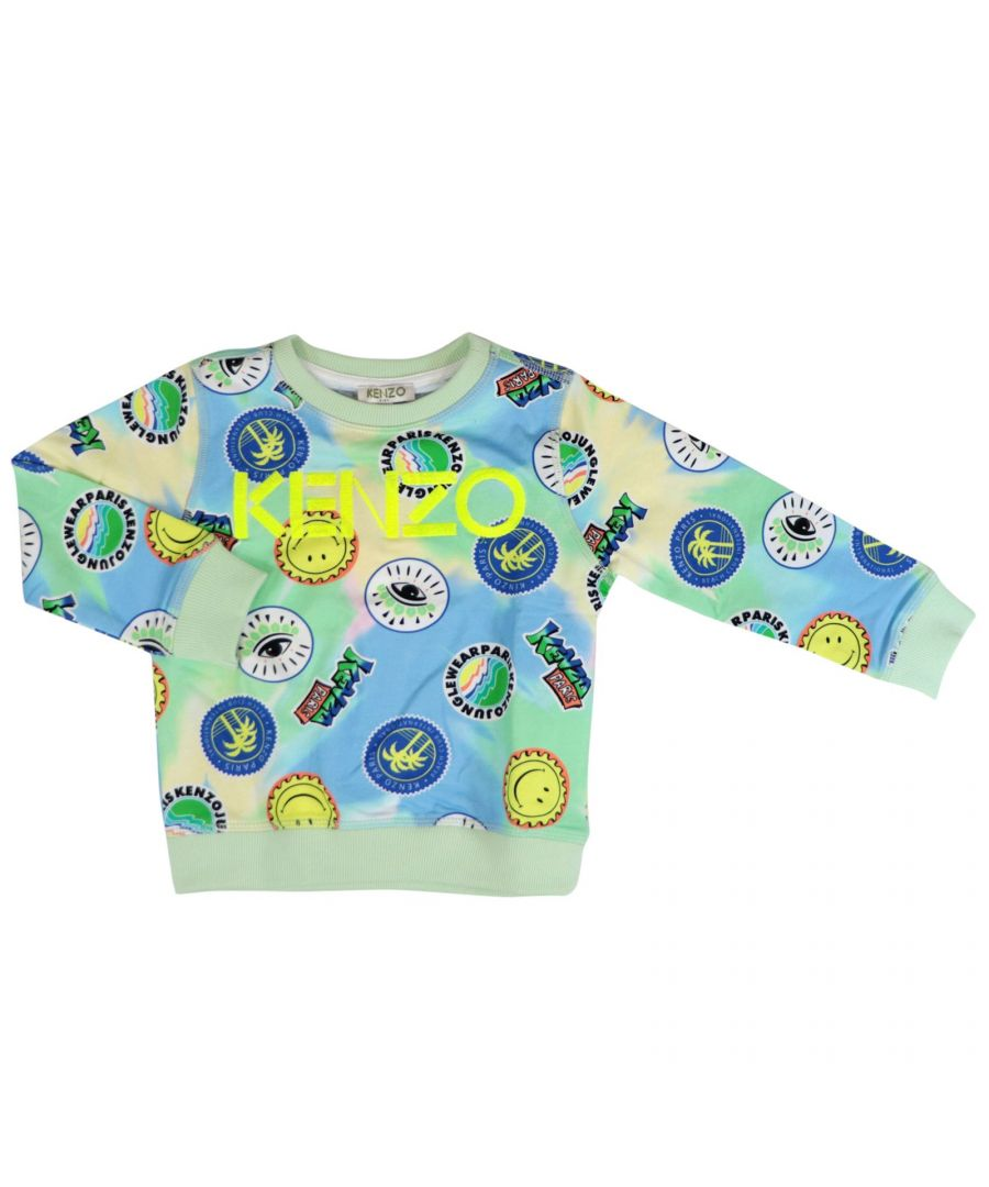 Image for KENZO BOYS KQ1552870 GREEN COTTON SWEATSHIRT