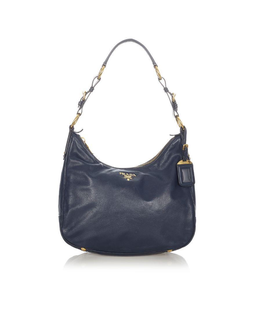 Image for Vintage Prada Vitello Shine Shoulder Bag Blue