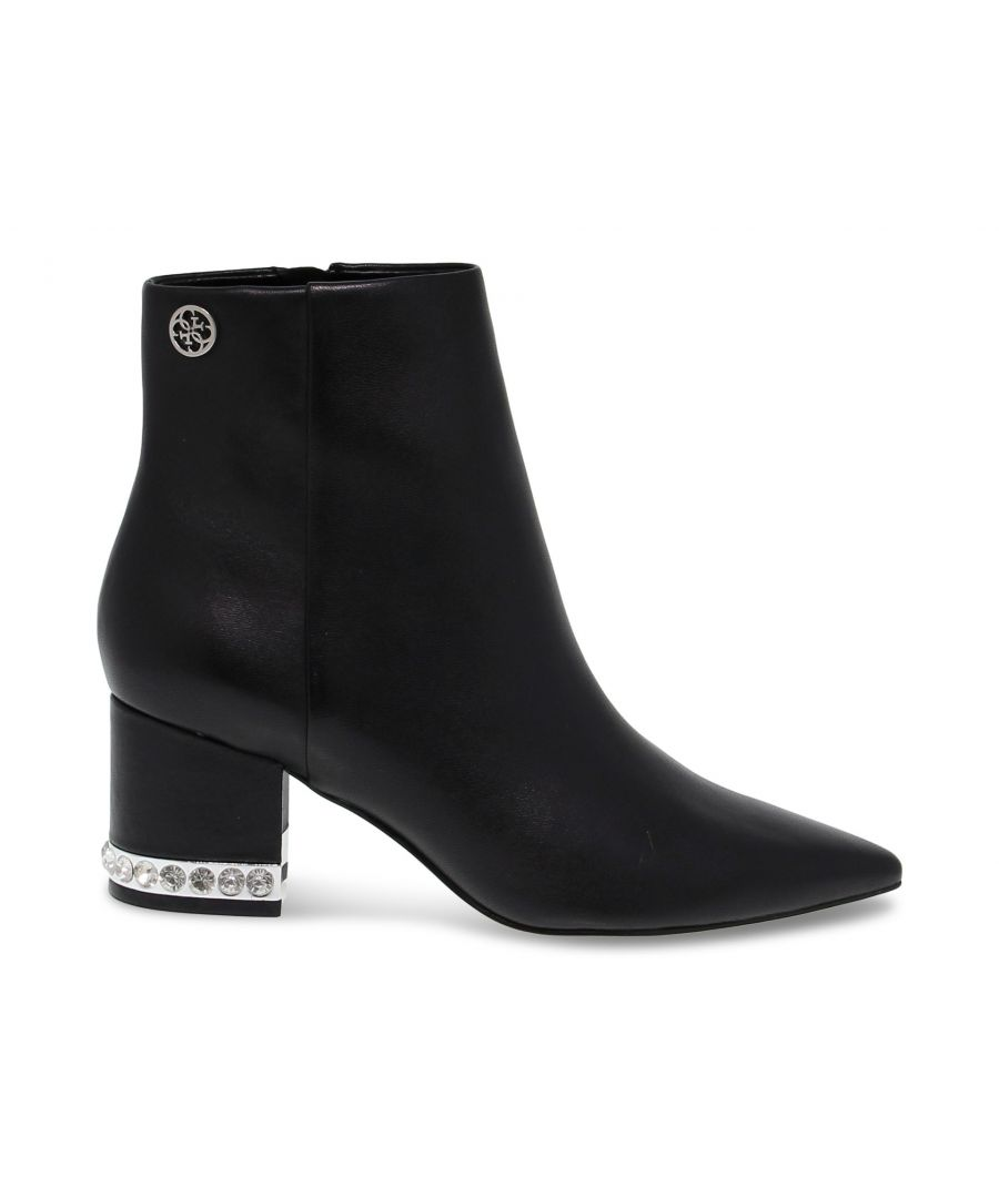 Image for GUESS WOMEN'S FL8ZADLEA10BLACK BLACK LEATHER ANKLE BOOTS