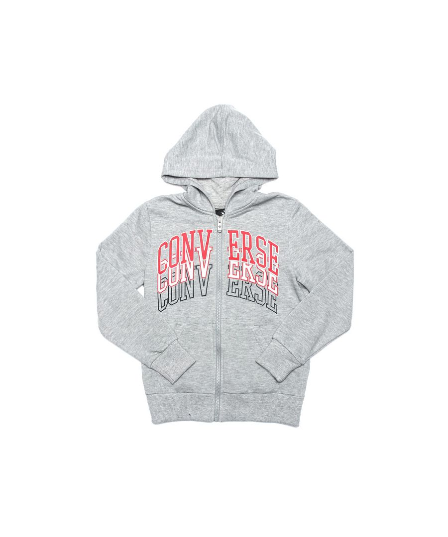 Image for Boy's Converse Junior Collegiate Repeat Zip Hoody in Grey