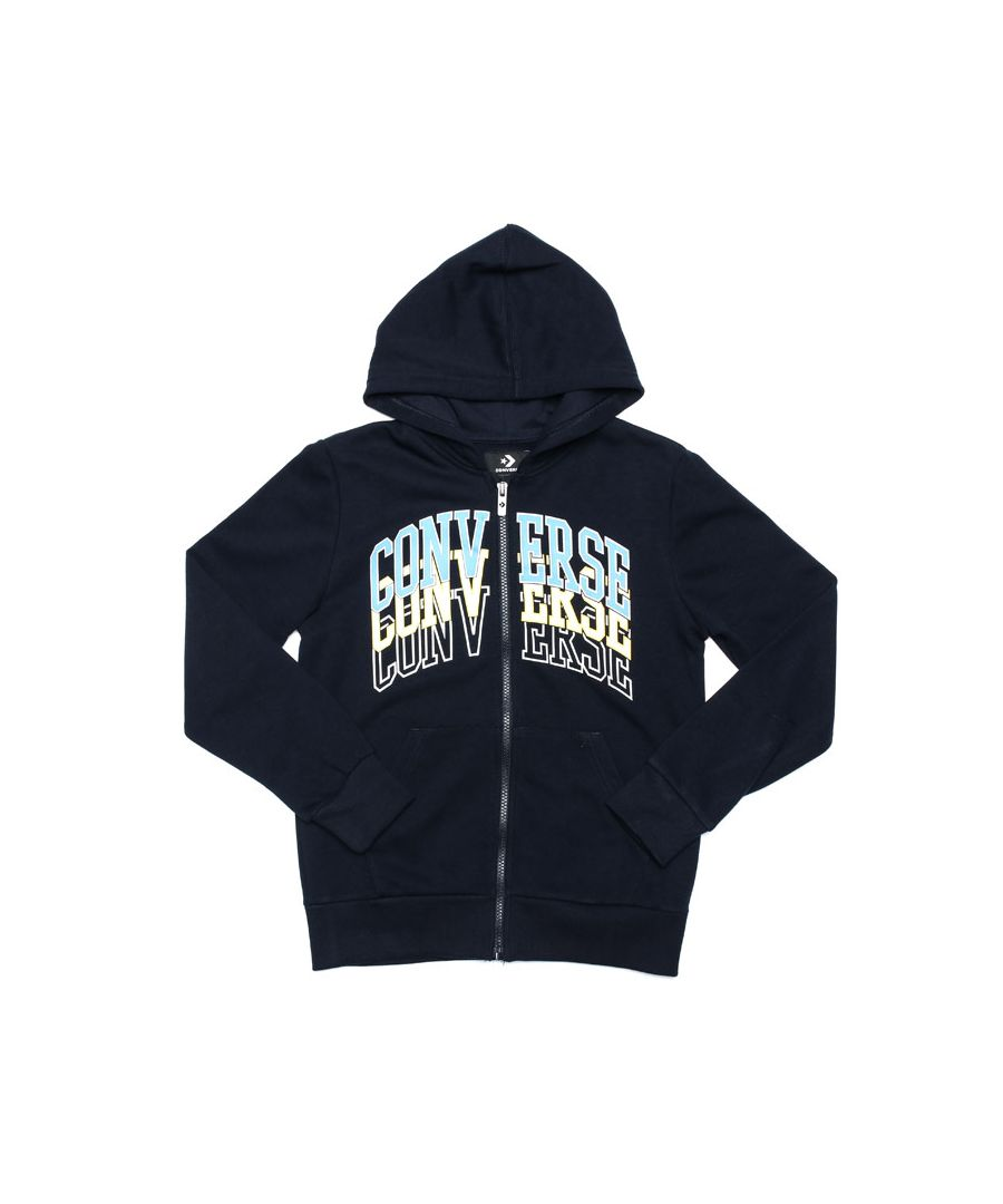 Image for Boy's Converse Junior Collegiate Repeat Zip Hoody in Navy