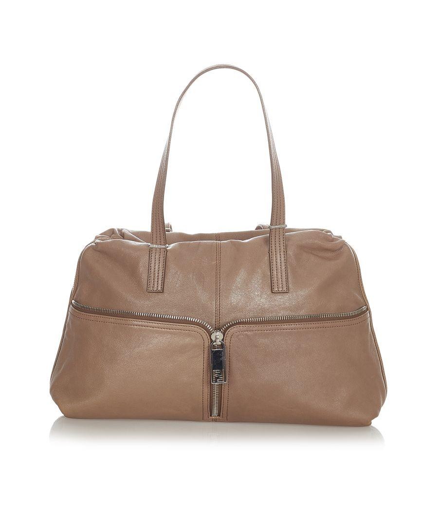 Image for Vintage Fendi Leather Shoulder Bag Brown