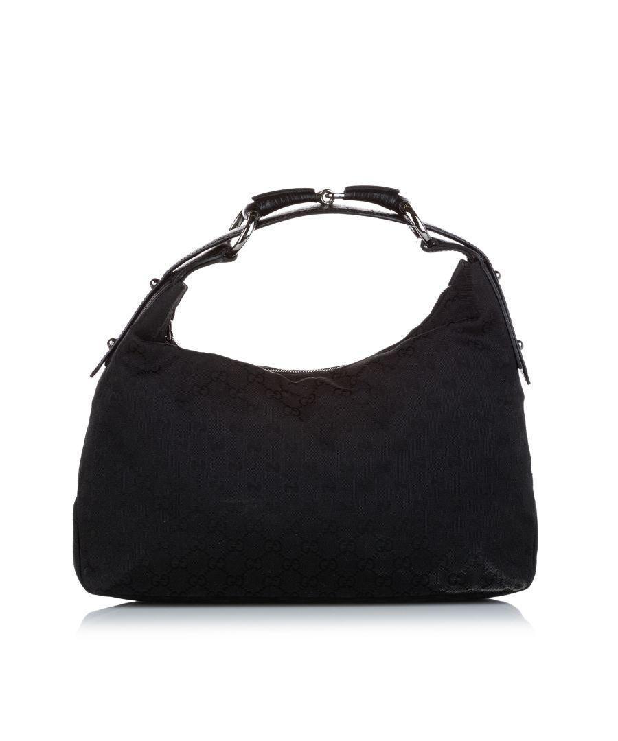 Image for Vintage Gucci GG Horsebit Canvas Shoulder Bag Black