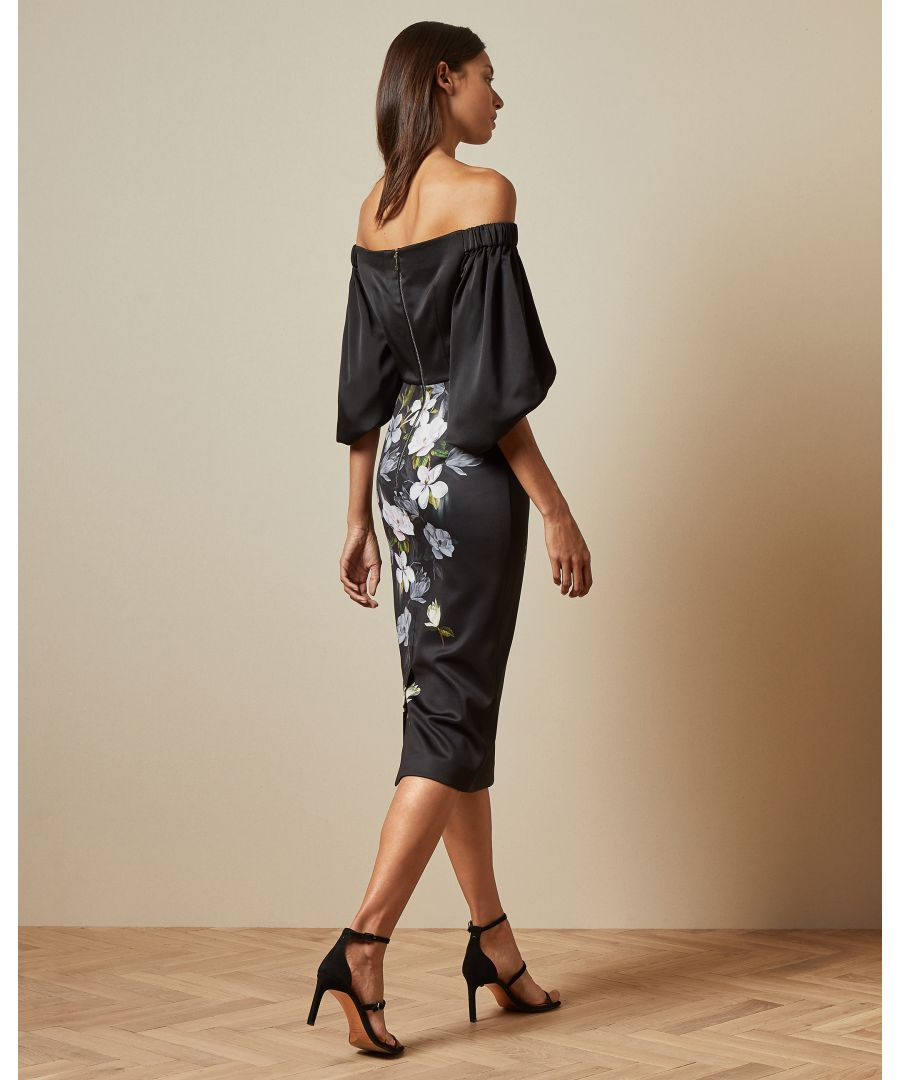 Image for Ted Baker Adalli Off The Shoulder Opal Printed Bodycon, Black