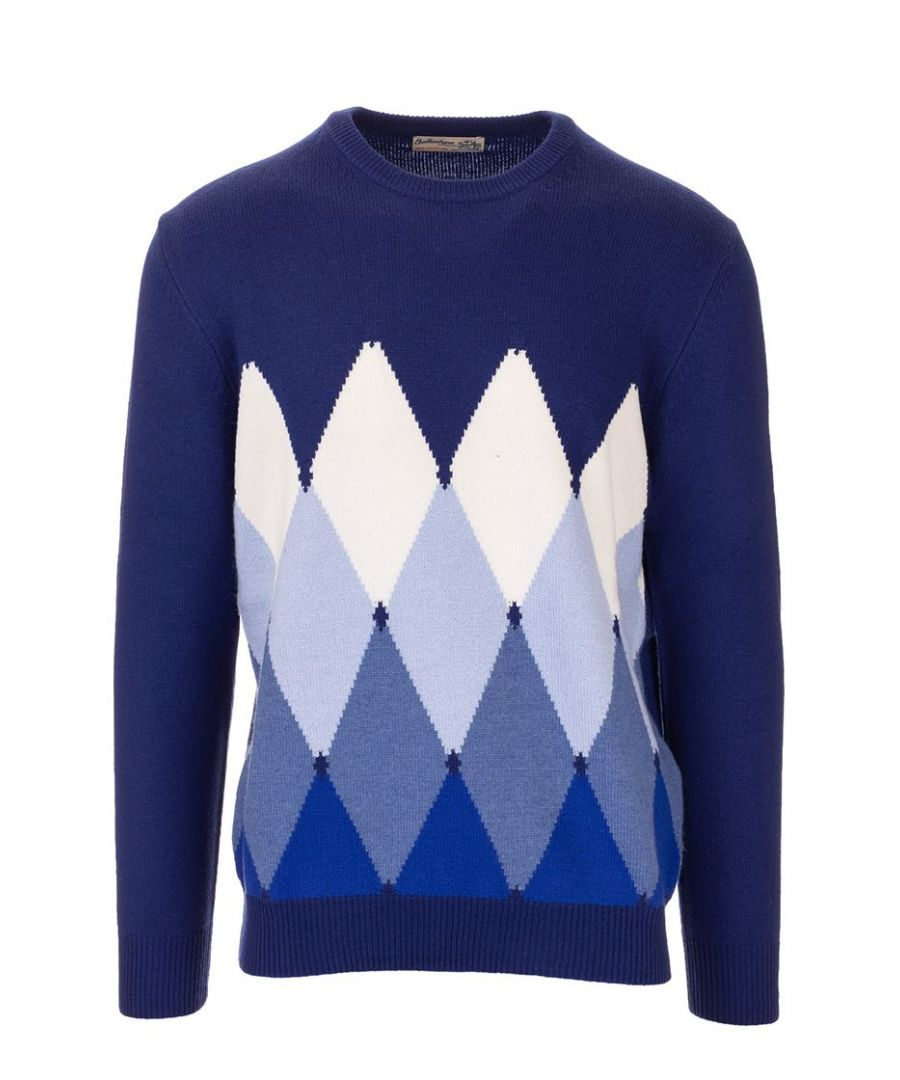 Image for BALLANTYNE MEN'S P2P0007K0A893542 BLUE CASHMERE SWEATER