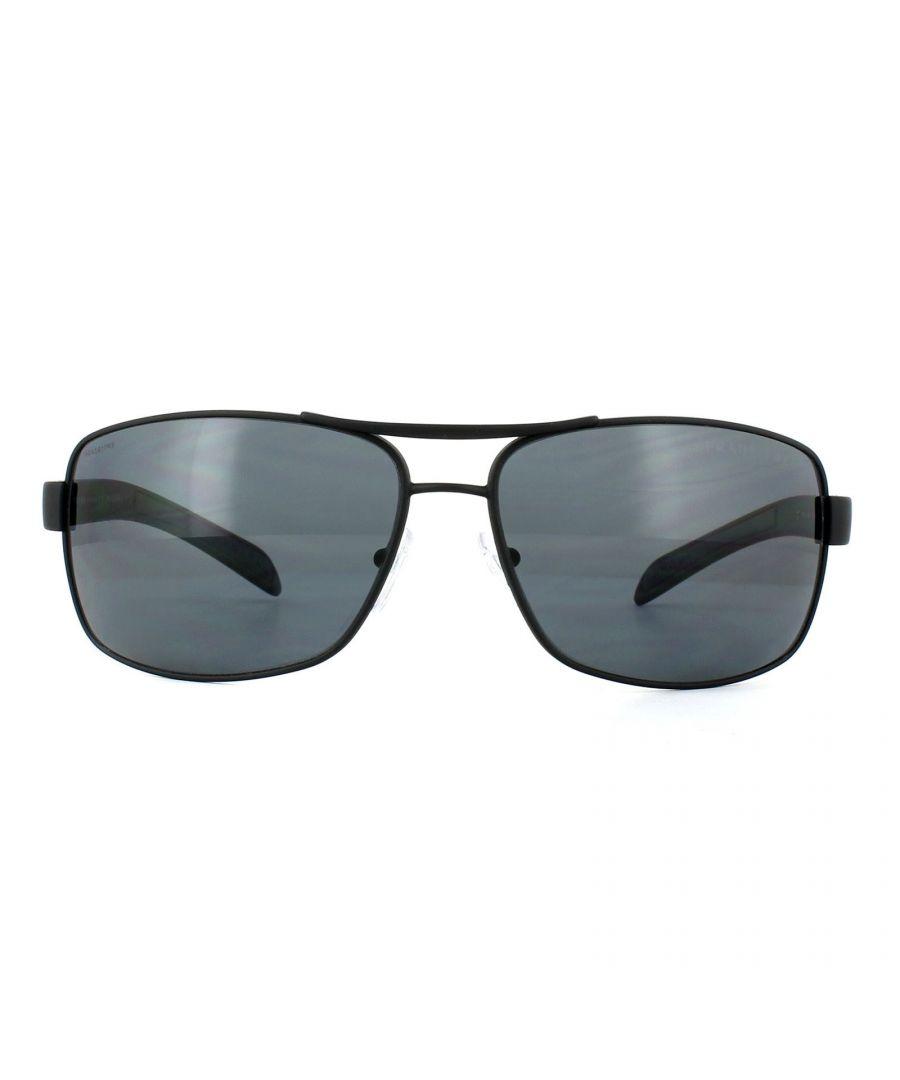 Image for Prada Sport Sunglasses 54IS DG05Z1 Black Rubber Grey Polarized