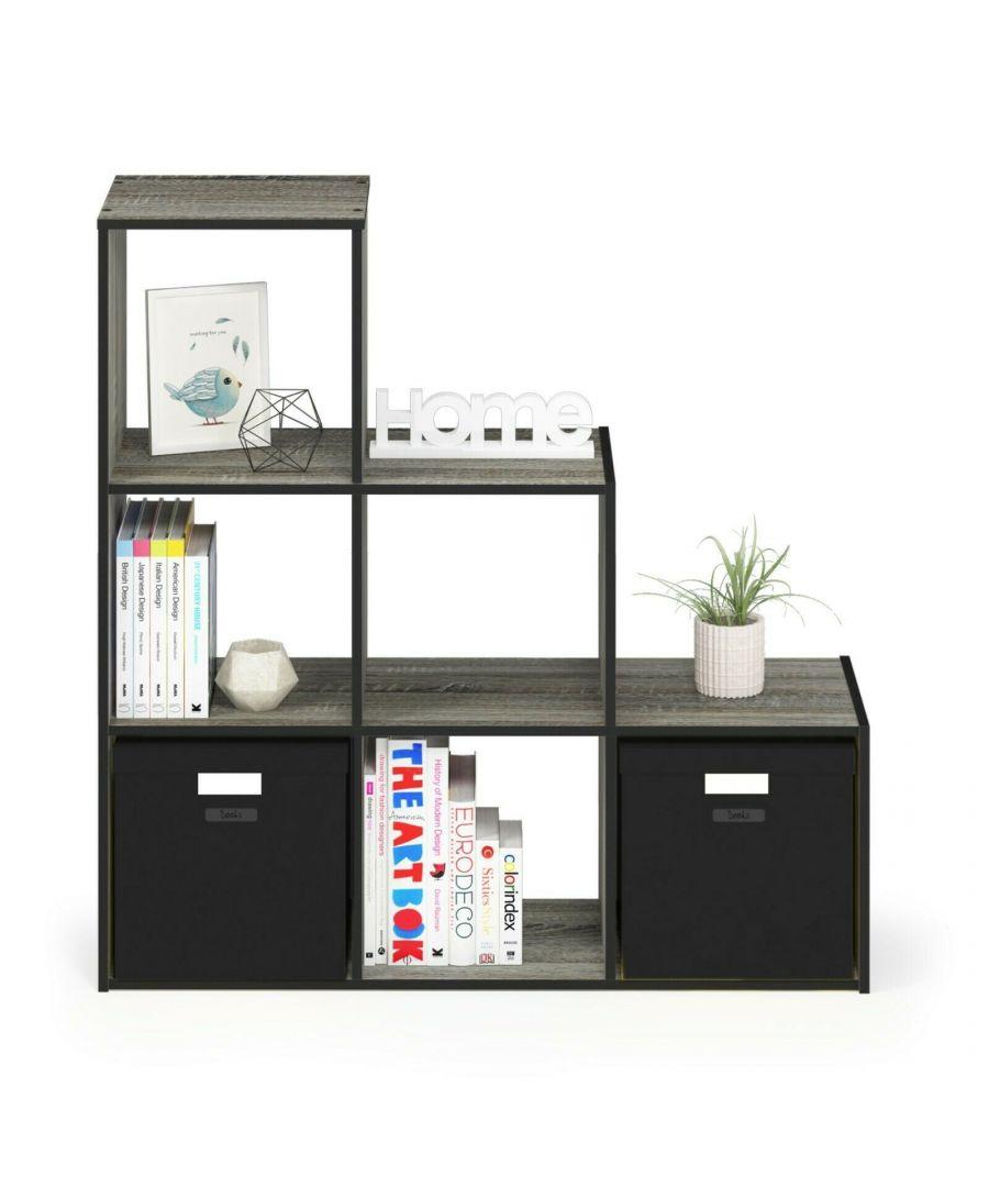 Image for Furinno Pelli Cubic Storage Cabinet, 3-2-1, French Oak Grey/Black