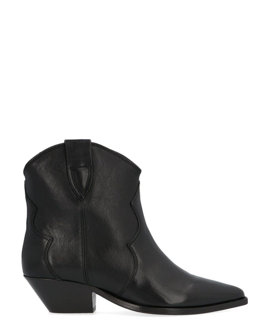 Image for ISABEL MARANT WOMEN'S BO017420P047S01BK BLACK LEATHER ANKLE BOOTS