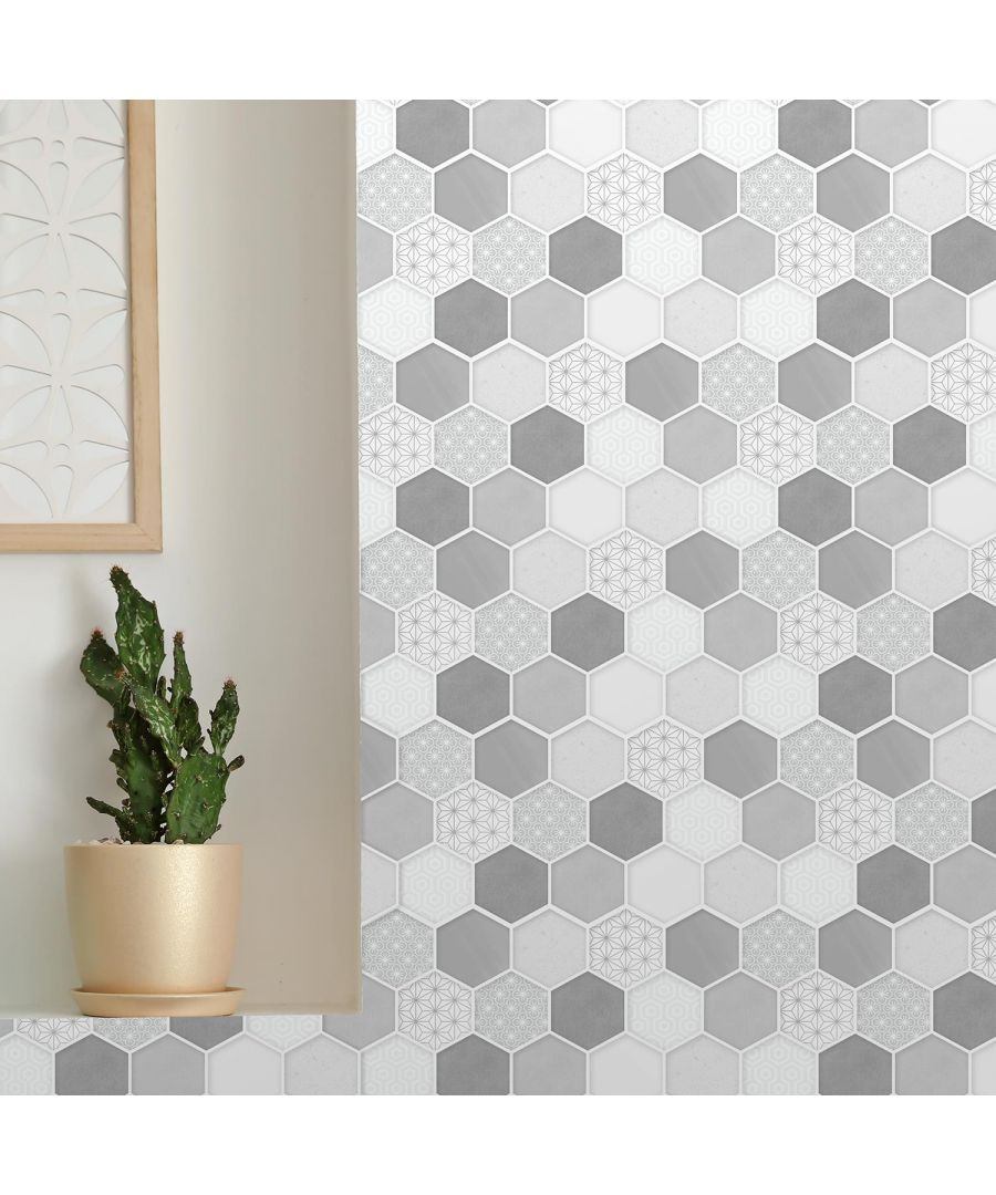 Image for Honey Hexa Grey Glossy 3D DIY Self Adhesive Tile Stickers 30 x 15cm (11.8in x 6 in) - 12pcs in a pack, 3D Tiles Wall Stickers, Kitchen, Bathroom, Living room, peel and stick