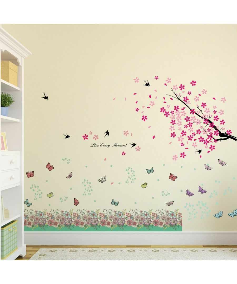 Image for Walplus Wall Sticker Decal Wall Art Spring Flowers and Butterflies Decorations