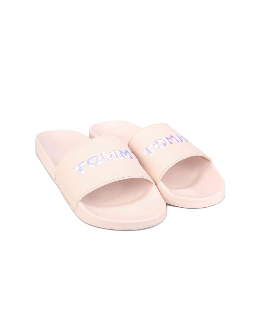 Image for Women's Tommy Hilfiger Iridescent Detail Pool Slide Sandals Dusky Pink