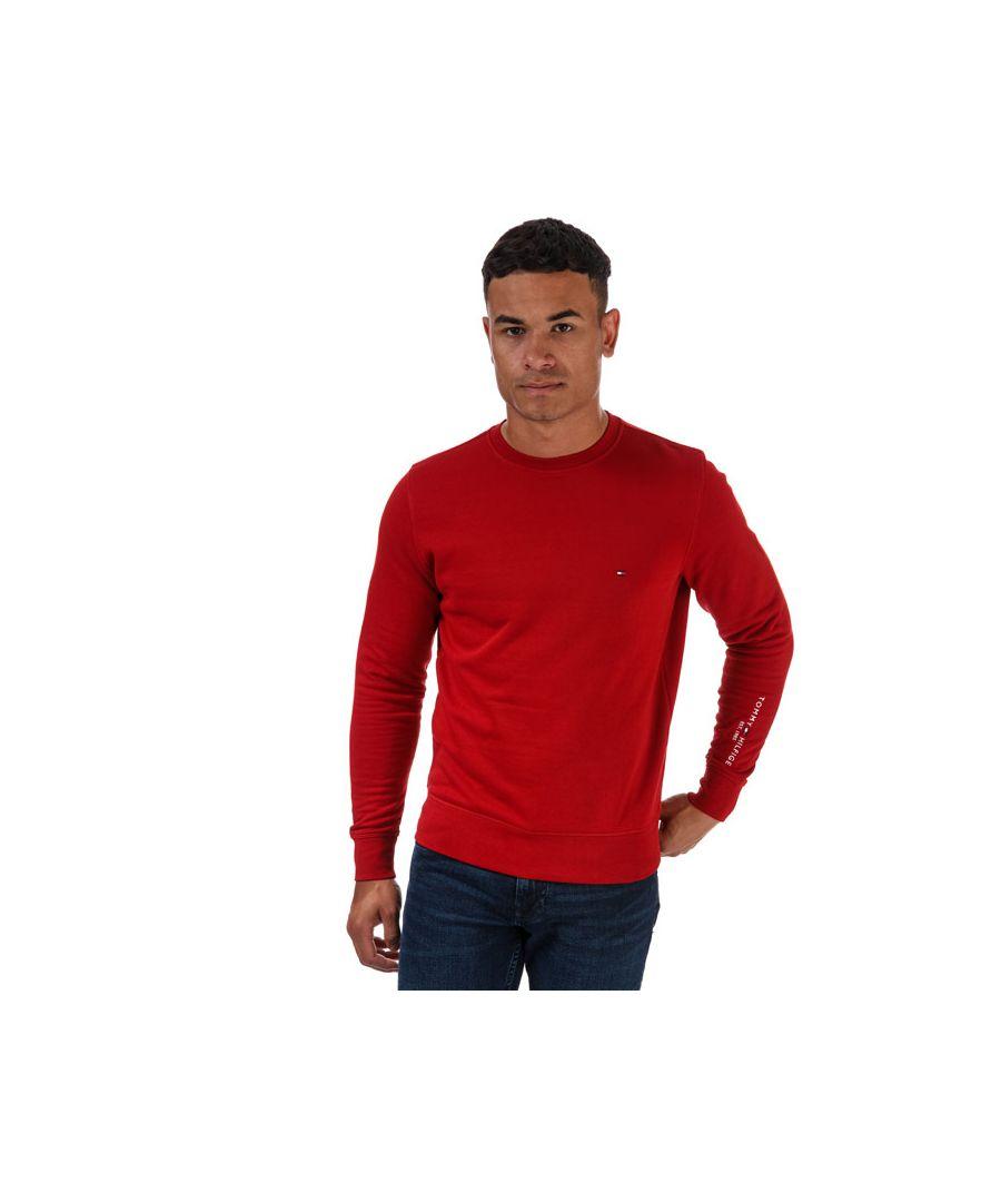 Image for Men's Tommy Hilfiger Tommy Sleeve Logo Sweatshirt Red XLin Red