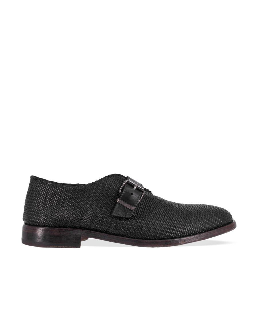 Image for MOMA MEN'S 16902XABLACK BLACK LEATHER MONK STRAP SHOES