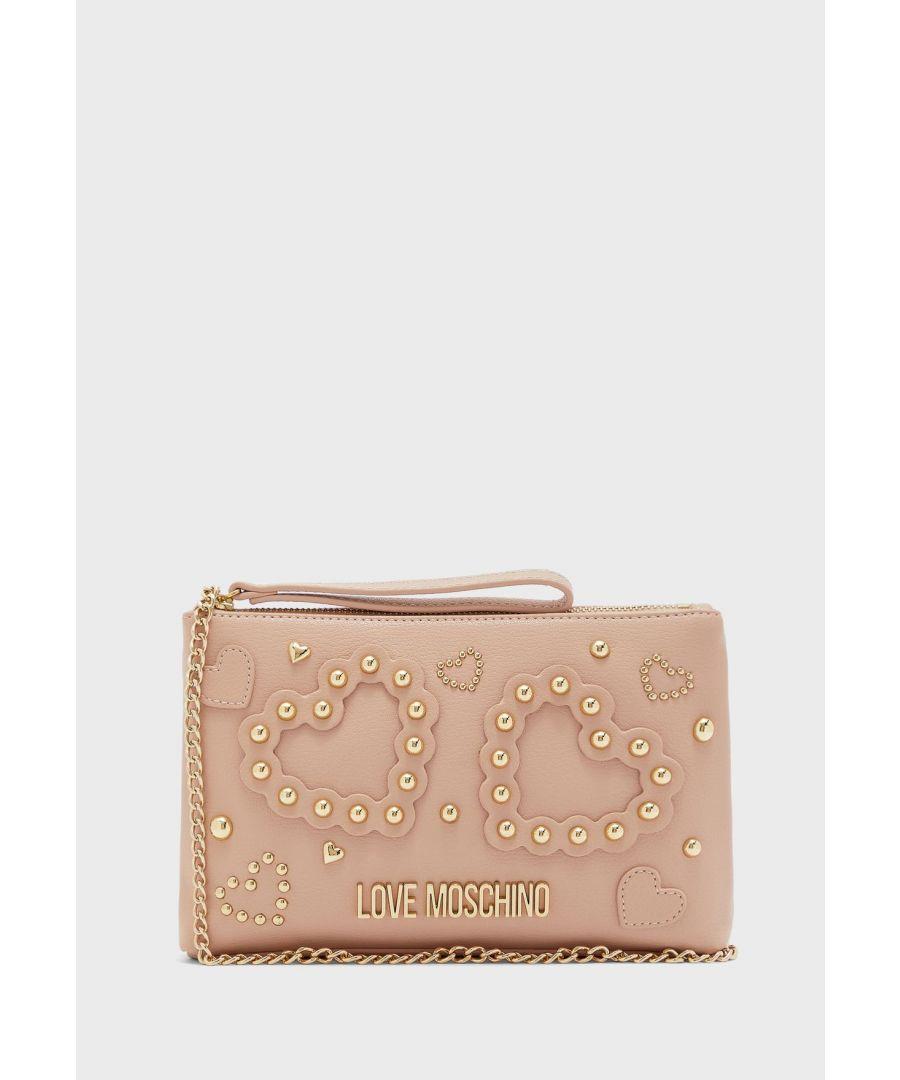 Image for Love Moschino Beaded Heart Top Zip Crossbody Bag in Beige