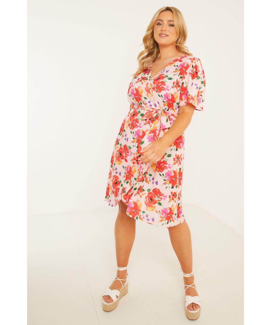 Image for Curve Pink Floral Wrap Midi Dress