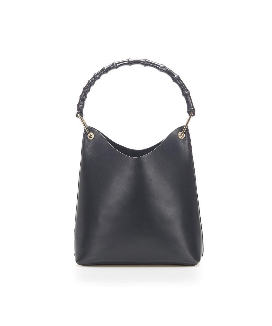 Image for Vintage Gucci Bamboo Leather Handbag Black