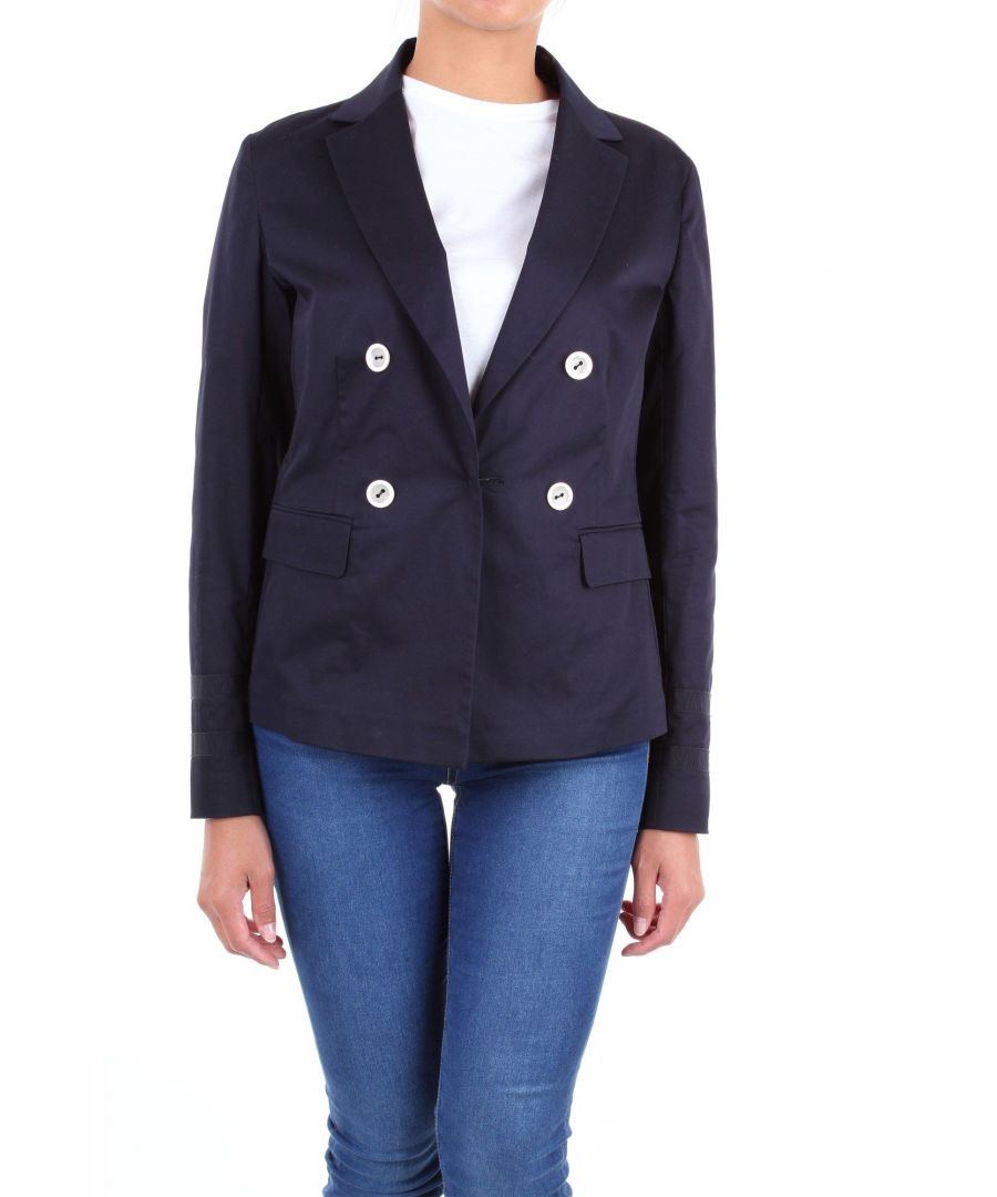 Image for LES COPAINS WOMEN'S 0J6020BLUE BLUE COTTON BLAZER
