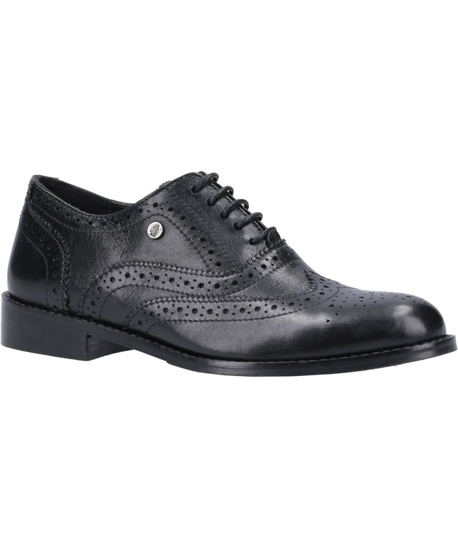 Image for Hush Puppies Women's Natalie Lace Up Leather Brogue Shoe (Black)