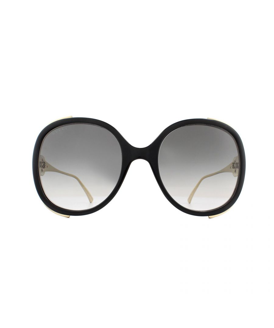 Image for Gucci Sunglasses GG0226S 001 Black and Gold Grey Gradient