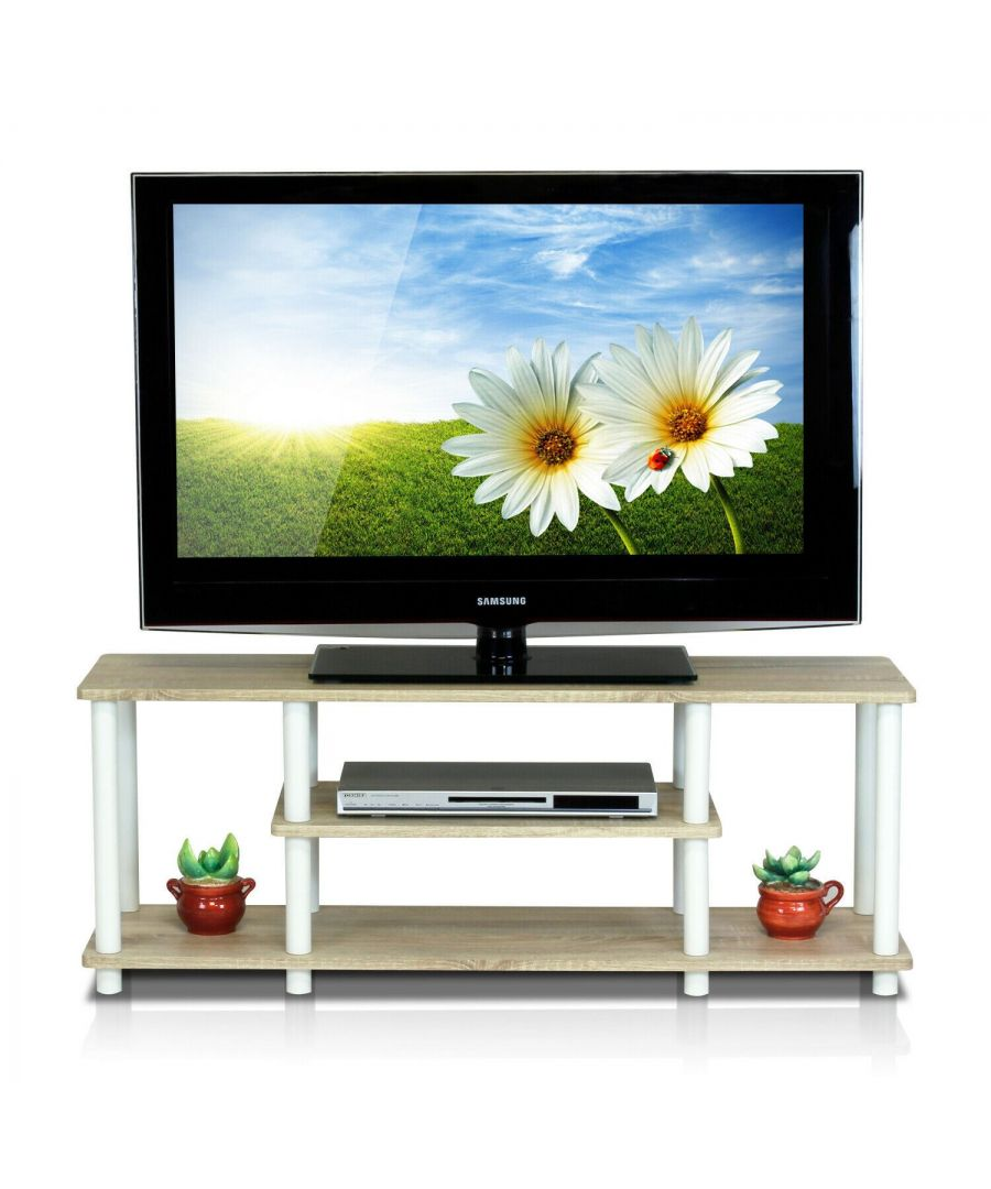 Image for Furinno Turn-N-Tube No Tools 3D 3-Tier Entertainment TV Stands - Beech