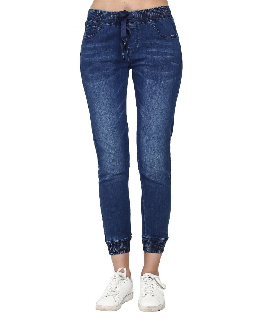 Image for Stretch pants in elastic jeans