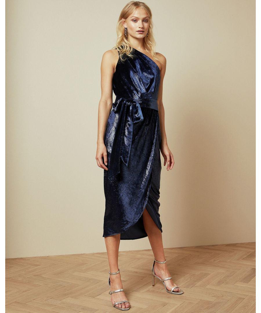 Image for Ted Baker Abinaa One Shoulder Drape Midi Dress, Blue