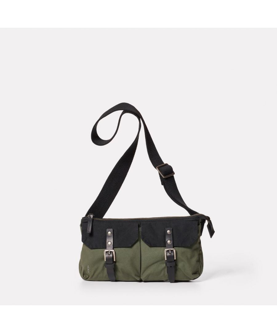 Image for Adam Waxed Cotton Belt Bag in Black and Olive