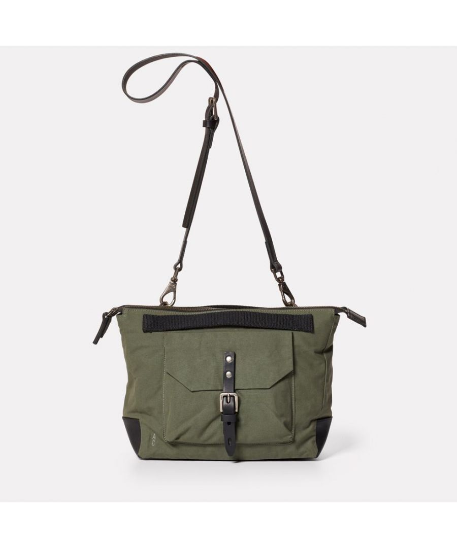 Image for Francesca Waxed Cotton Crossbody Bag in Olive