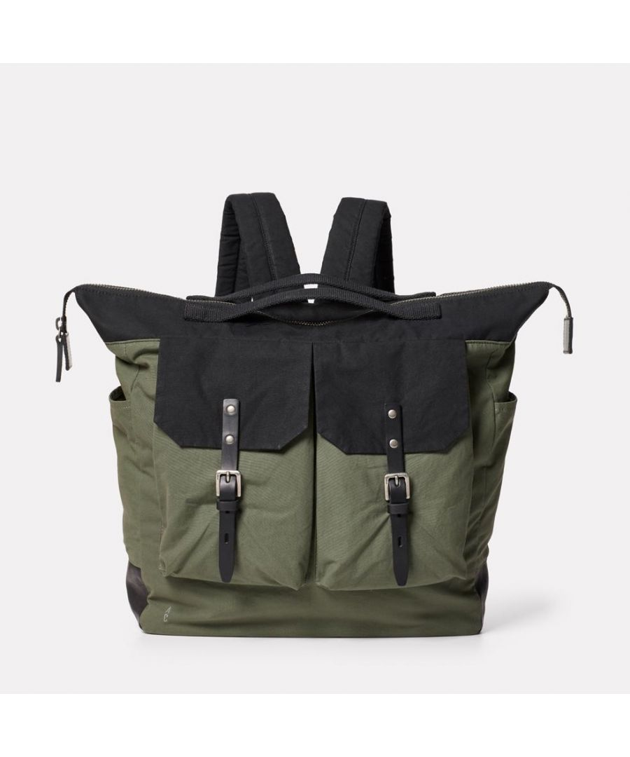 Image for Frank Large Waxed Cotton Rucksack in Black and Olive