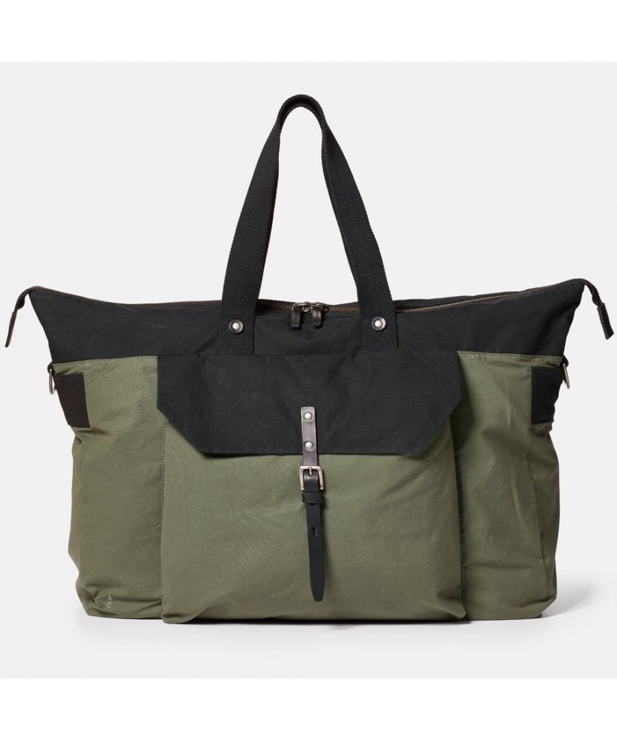 Image for Freddie Waxed Cotton Holdall in Black and Olive